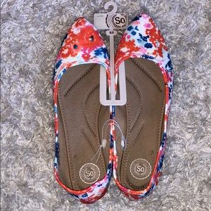 NWT Bright Floral Spring Flats by SO